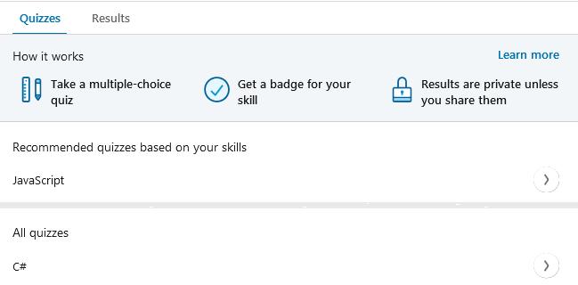 Des QUIZZ pour tester vos compétences sur LinkedIn